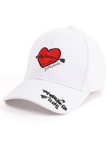 Shop Letters Heart Embroidered Band Baseball Cap WHITE