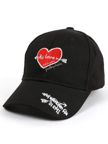 Store Letters Heart Embroidered Band Baseball Cap - BLACK  Mobile