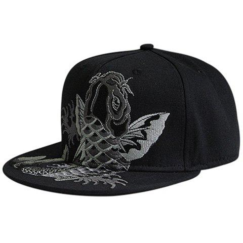 Best Fancy Carp Embroidered Flat Brim Baseball Hat