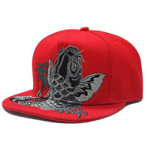 Outfits Fancy Carp Embroidered Flat Brim Baseball Hat RED