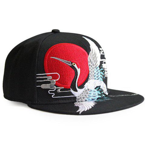 Online Red Crowned Crane Embroidered Retro Baseball Hat BLACK