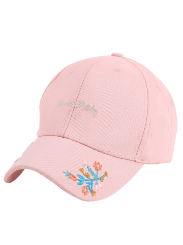 Latest Letters Flowers Embroidered Baseball Cap - PINK  Mobile