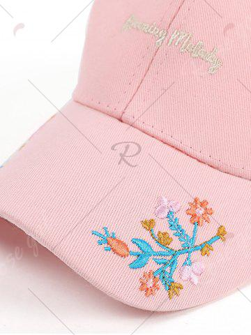 Shop Letters Flowers Embroidered Baseball Cap - PINK  Mobile