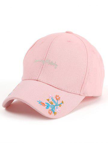 Store Letters Flowers Embroidered Baseball Cap - PINK  Mobile