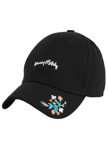 New Letters Flowers Embroidered Baseball Cap - BLACK  Mobile