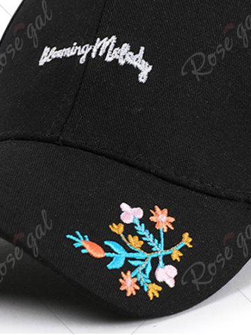 Sale Letters Flowers Embroidered Baseball Cap - BLACK  Mobile
