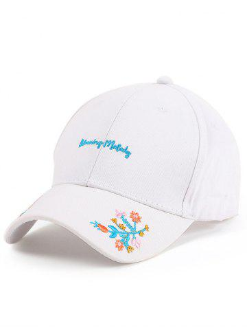 Hot Letters Flowers Embroidered Baseball Cap - WHITE  Mobile