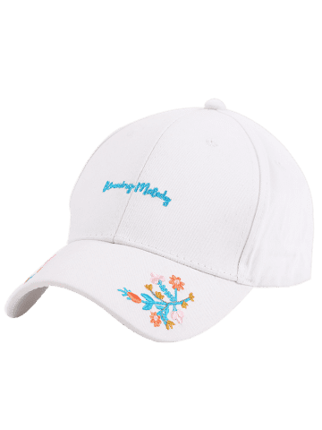 Cheap Letters Flowers Embroidered Baseball Cap - WHITE  Mobile