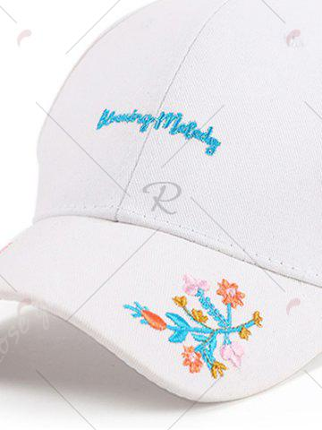 Best Letters Flowers Embroidered Baseball Cap - WHITE  Mobile