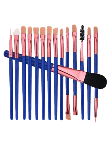 Trendy 15 Nylon Eye Makeup Brushes Set - BLUE  Mobile