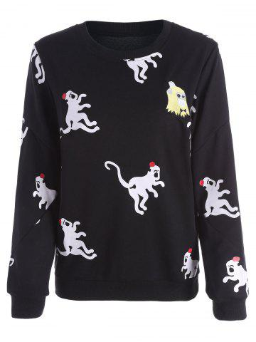 New Funny Print Pullover Sweatshirt - S BLACK Mobile