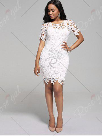 Sale Cutwork Lace Pencil Dress with Cami Dress - 2XL WHITE Mobile