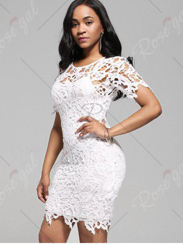 New Cutwork Lace Pencil Dress with Cami Dress - 2XL WHITE Mobile