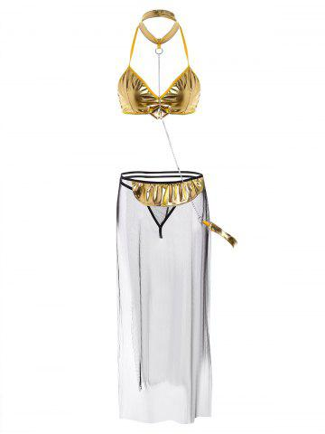 Metallic Mesh Sheer Bra Cosplay Suit - Golden - One Size