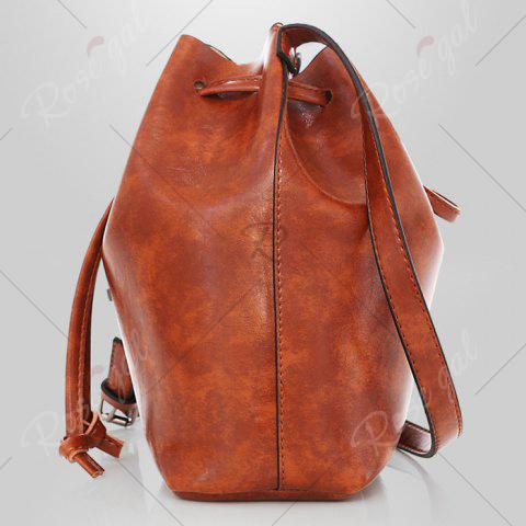Latest 3 Pieces PU Leather Bucket Bag Set - BROWN  Mobile