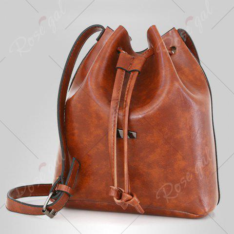 Chic 3 Pieces PU Leather Bucket Bag Set - BROWN  Mobile