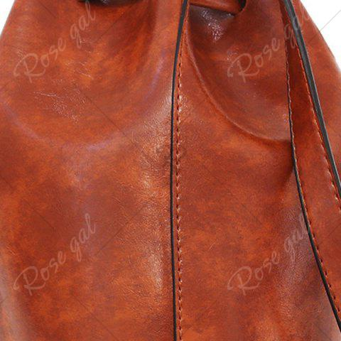 Shops 3 Pieces PU Leather Bucket Bag Set - BROWN  Mobile