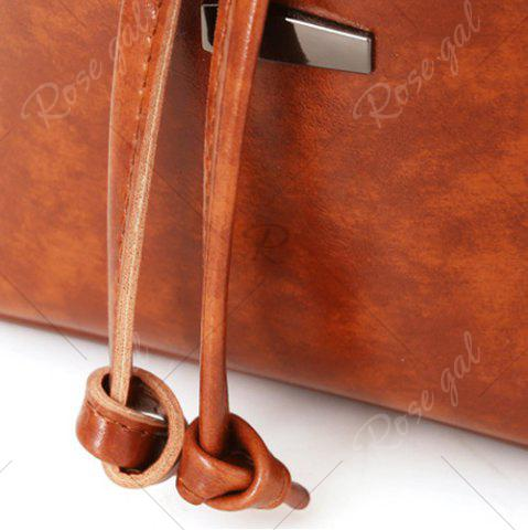 Fashion 3 Pieces PU Leather Bucket Bag Set - BROWN  Mobile