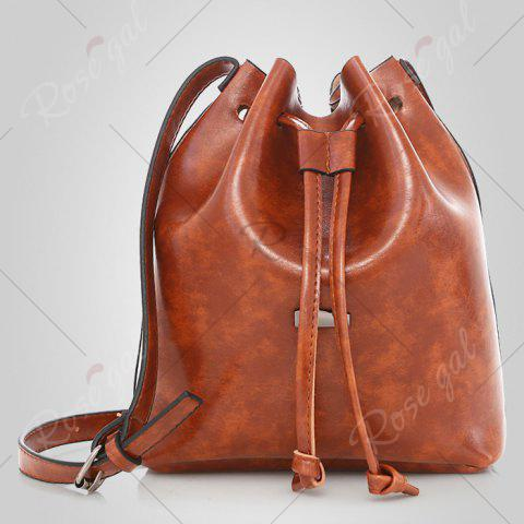Outfit 3 Pieces PU Leather Bucket Bag Set - BROWN  Mobile