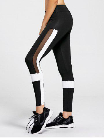 Contrast  Workout Leggings with Mesh Panel - Black - L
