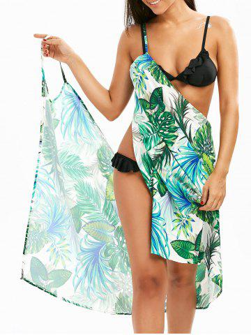Hawaii Print Beach Sarong Wrap Cover Up Dress - Green - M