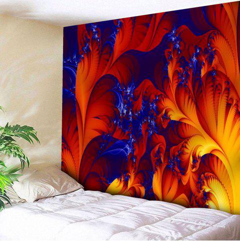 Fire Plant Print Wall Hanging Microfiber Tapestry - Red - W91 Inch * L71 Inch