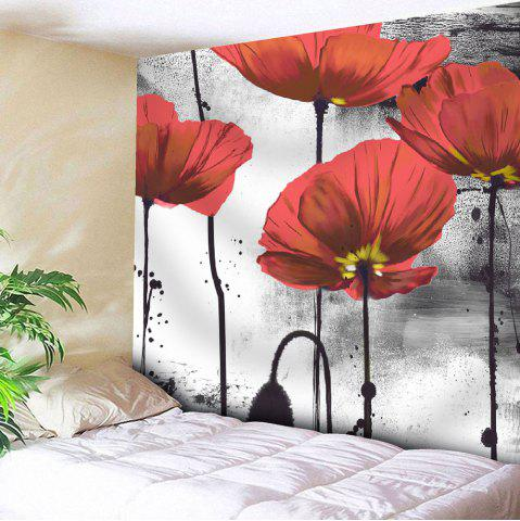 Ink Painting Wall Hanging Microfiber Flower Tapestry - Red - W71 Inch * L71 Inch