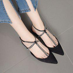 Buckle Strap Beaded Point Toe Flats - BLACK