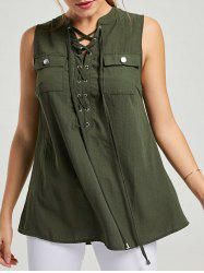 Pockets Lace-up Top