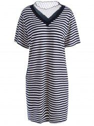 Voile Panel Plus Size Stripe Knit T-shirt Dress