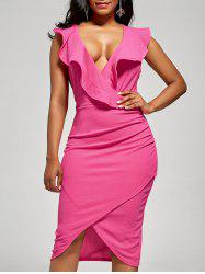 Plunge Ruffle Bodycon Dress
