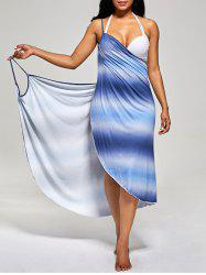 Ombre Wrap Cover Up Dress - BLUE