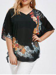Plus Size Butterfly Sleeve Floral Blouse - Black - 5xl
