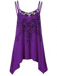 Asymmetric Plus Size Cami Tunic Top - Purple - 5xl