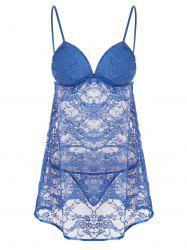 Lace Sheer Padded Slip Babydoll Dress - BLUE