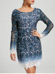 Lace Open Back Ombre Party Formal Dress