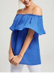 Off Shoulder Ruffle Chiffon Long T Shirt - BLUE L