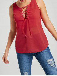 Lace-up Tank Top - RED M