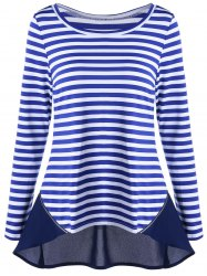 Zip Back Striped Chiffon Trim Top