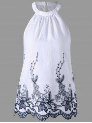 Sleeveless Embroidery Scalloped Edge Blouse - WHITE