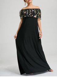 Embroidered Off Shoulder Floor Length Formal Dress