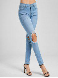 Skinny Distressed Wash  Jeans -