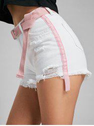 Velvet Panel Ripped Denim Shorts - WHITE