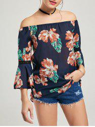 Lace Insert Flare Sleeve Floral Chiffon Blouse