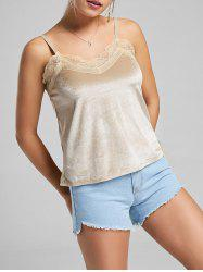 Lace Panel Velvet Cami Top