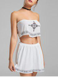 Strapless Printed Crop Top and Shorts