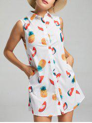 Watermelon Summer Sleeveless Shirt Dress