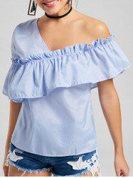 Stripe Ruffle One Shoulder  Top
