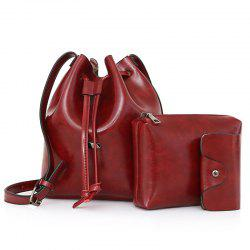 3 Pieces PU Leather Bucket Bag Set - WINE RED