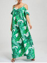 V Neck Tropical Print Spaghetti Strap Dress